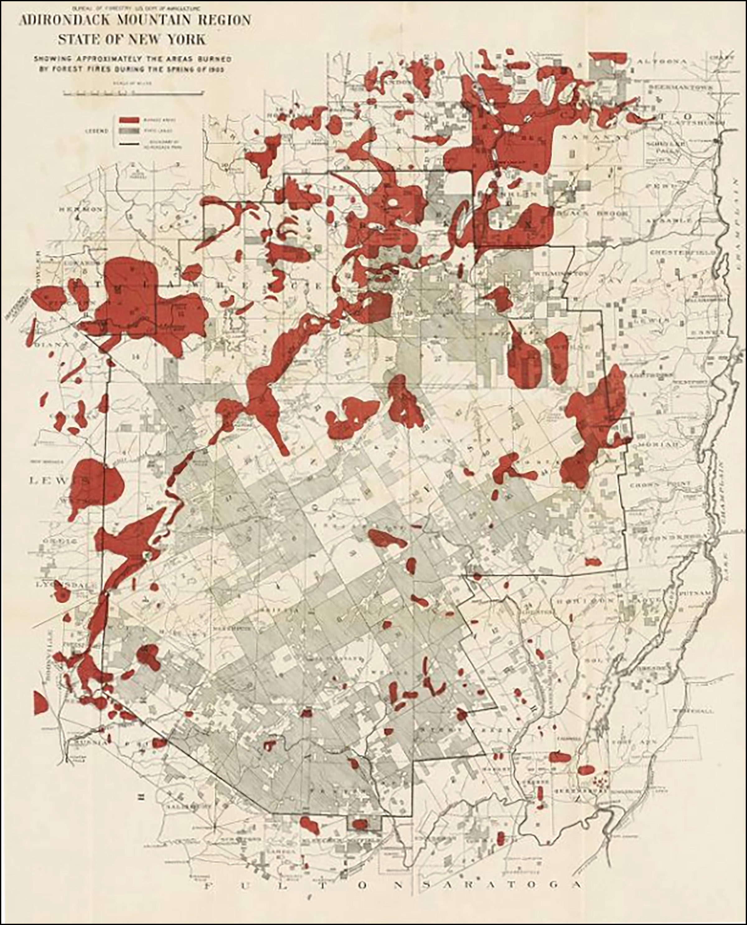 Map of the 1903 Adirondack fires. Herman Suter. Forest Fires in the Adirondacks, 1904.