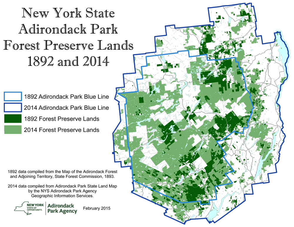 Adirondack Park: New York State Park Preserve Lands. 1892 and 2014